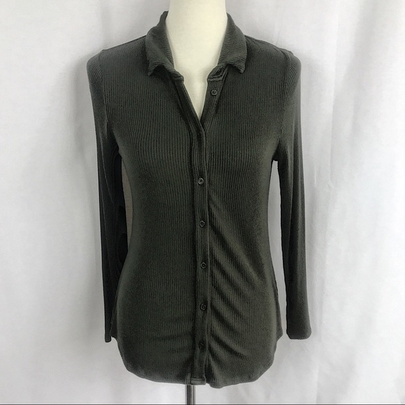 Anthropologie Postmark Button Down Ribbed Henley